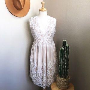 Dresses & Skirts - White + Nude Lace Dress